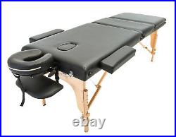 3-section Black Portable Massage Table Bed Spa Tattoo Couch Beauty Therapy Salon