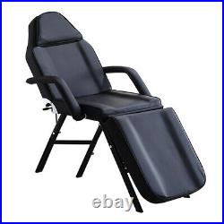 Adjustable Massage Bed Table Beauty Therapy Couch Salon Chair with Stool Black