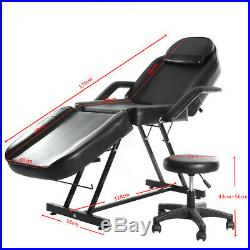 Adjustable Massage Table Bed Beauty Salon Treatment Tattoo Couch Chair with Stool