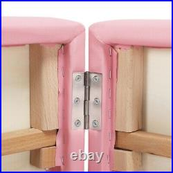 Adjustable Massage Table Folding Beauty Bed Therapy Couch with Wooden Legs Pink