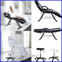 Beauty Salon Bed Reclining Facial Therapy Massage Chair Table Couch with Stool