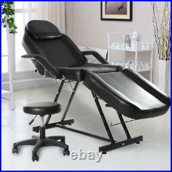 Beauty Salon Chair Bed Reclining Facial Therapy Massage Table Tattoo Couch Stool