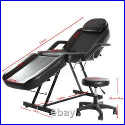 Beauty Salon Chair Bed Reclining Tattoo Therapy Massage Table Couch With Stool