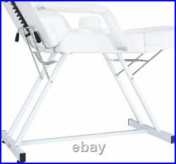 Beauty Salon Massage Table Tattoo Facial Therapy Couch Bed with Stool White