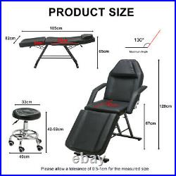 Beauty Salon Massage Table Tattoo Facial Therapy Couch Bed with Stool White/Blac
