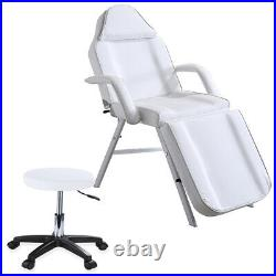 Beauty Salon Reclining Massage Bed Table Chair Stool Couch Facial Therapy White