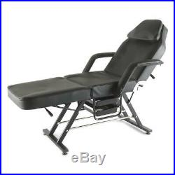 Black Massage Table & Chairs Beauty Salon Tattoo Therapy Facial Couch Bed Stool