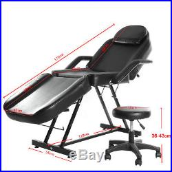 Black/White Massage Table Beauty Salon Bed Chair Reiki Treatment Couch + Stool