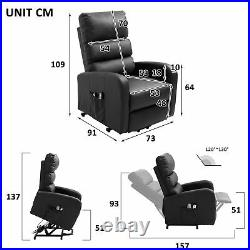 Electric Adjustable 8-Point Massage Chair Sofa Bed Heating Armchair PU Recliner
