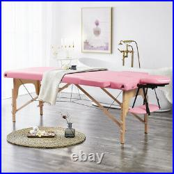 Folding Massage Table Spa Beauty Bed Portable Salon Therapy Couch Pink 2 Section
