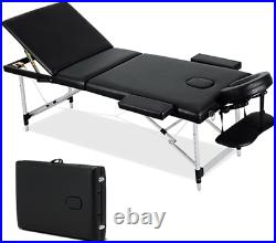 GPX Portable Massage Bed Table, 3 Section Aluminium Foldable Beauty Couch for Spa