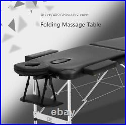 JL Comfurni Portable Massage Table 3 Section All-Inclusive Folding Couch Bed