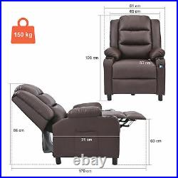 Luxury Leather Massage Recliner Chair Sofa Bed Armchair Lumbar Heating 8 Node