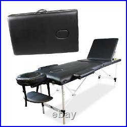 Massage Table Bed Portable Folding Beauty Therapy Adjustable Couch Black Salon