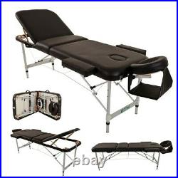 Massage Table Couch Bed Portable Folded 3 Section Headrest Arm Support Bags New