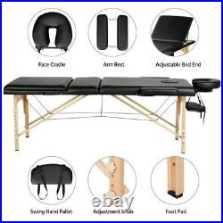Massage Table Spa Bed Portable 3 Folding Beauty Salon Tattoo Therapy Couch Black