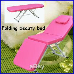 NEW Pink Adjustable Portable Massage Table Beauty Couch Bed Folded 3 Zone