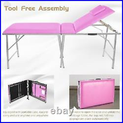 PINK Portable 3 Fold Massage Table Beauty Bed Massage Therapy Couch Facial SPA