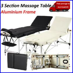 Portable 3 Fold Massage Table Beauty Bed Massage Therapy Couch Facial SPA BLK/WT
