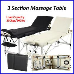 Portable 3 Fold Massage Table Beauty Facial SPA Bed Massage Therapy Couch BLK/WT