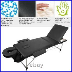Portable 3 Folding Massage Table Bed Beauty Salon Therapy Couch Massage Bed UK