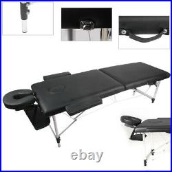 Portable Massage Table Beauty Therapy Couch Bed Salon Spa Aluminum 2 Section UK