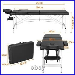 Portable Massage Table Folding Adjustable Spa Salon Therapy Couch Bed withHeadrest