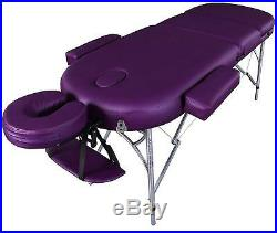 Purple MASSAGE ALU LITE PORTABLE TABLE BED SPA REIKI COUCH BEAUTY THERAPY PAD 1