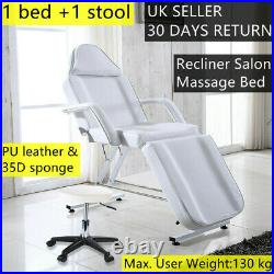 Recliner Beauty Salon Bed Massage Table Tattoo Spa Couch Chair With Stool White UK