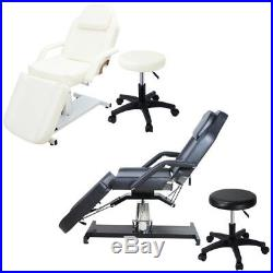 Reclining Hydraulic Massage Table Bed Body Treatment Tattoo Beauty Couch Stool