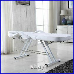 Reclining Massage Couch Bed Chair &Stool Beauty Salon Table Tattoo Therapy White