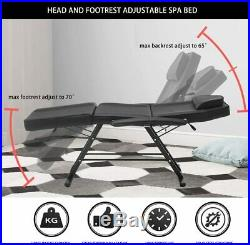 Therapy Massage Bed Table Beauty Couch Salon Chair Tattoo Facial SPA Black PU