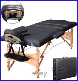 Vesgantti Portable Massage Bed Table 3-Section Foldable Beauty Couch for Reiki