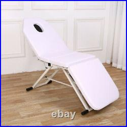 WHITE Beauty Salon Recliner Bed Massage Tattoo Bed Couch SPA Chair Foldable
