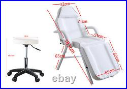 White Beauty Salon Bed Massage Table Tattoo Spa Treatment Couch Chair Stool Set
