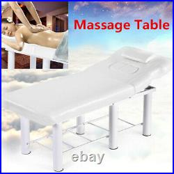White Massage Table Spa Bed Portable Beauty Salon Tattoo Therapy Couch Metal Leg
