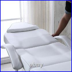 White Recliner Beauty Salon Bed Massage Table Tattoo Spa Couch Chair With Stool UK