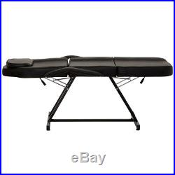 Wido MANUAL BLACK MASSAGE COUCH LEATHER BED BEAUTY THERAPIST TREATMENT CHAIR